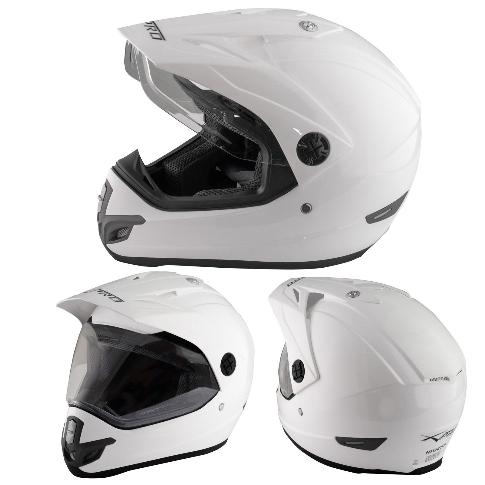 Casco Moto Cross Enduro Trial Quad Off Road Visiera Anti Nebbia Bianco