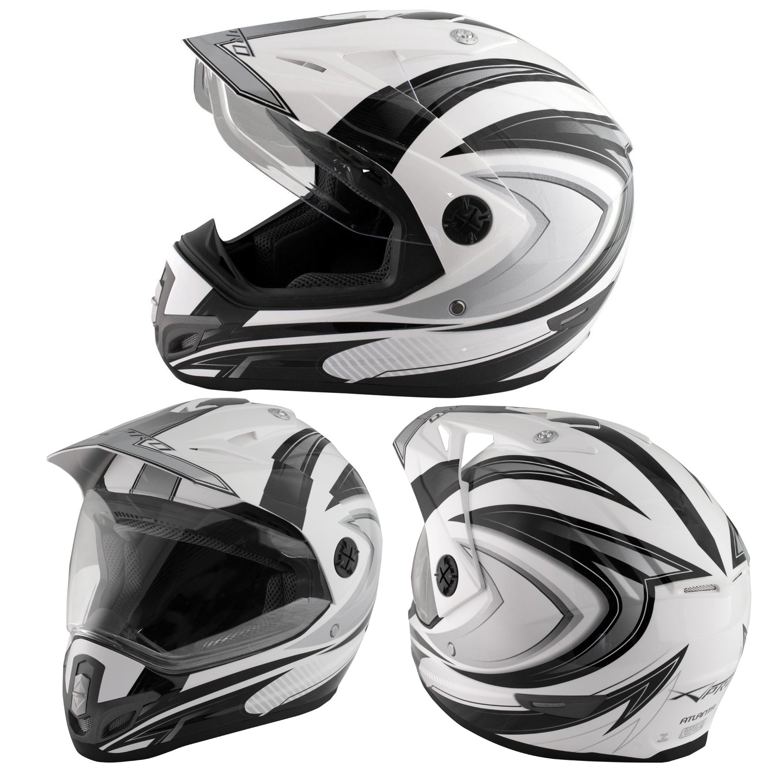 Casco Moto Cross Enduro Trial Quad Off Road Visiera Anti Nebbia Nero