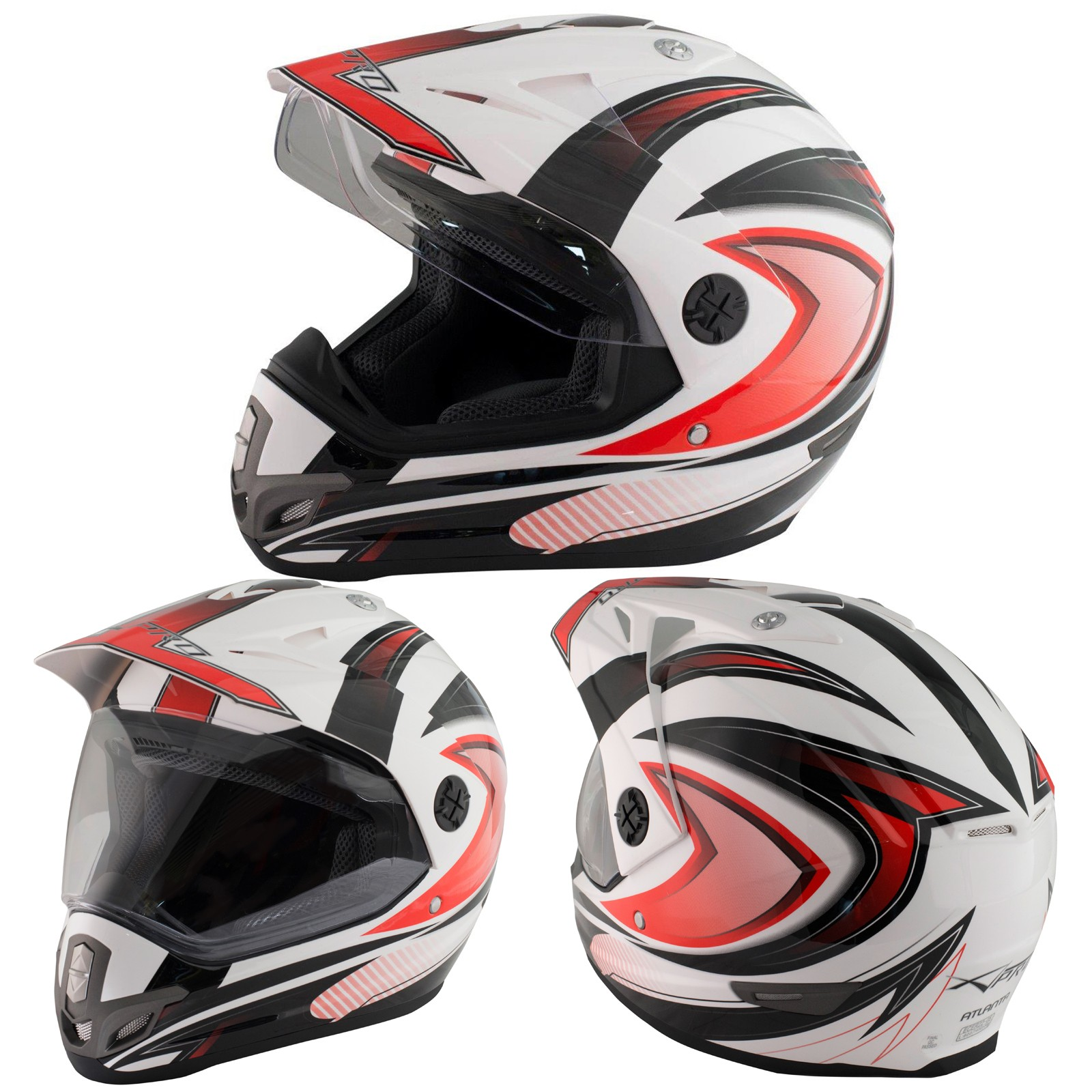 Casco Moto Cross Enduro Trial Quad Off Road Visiera Anti Nebbia Rosso