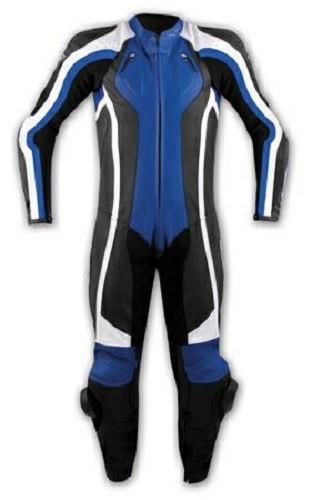 Tuta Pelle Intera Moto Racing Pista Sport Professionale Protezioni Omologate Blu