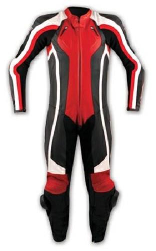 Tuta Pelle Intera Moto Racing Pista Professionale Protezioni Omologate Rosso