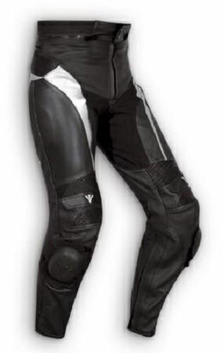 Pantaloni Pelle Sport Moto Naked Protezioni Sliders Sportivo Tecnico Argento