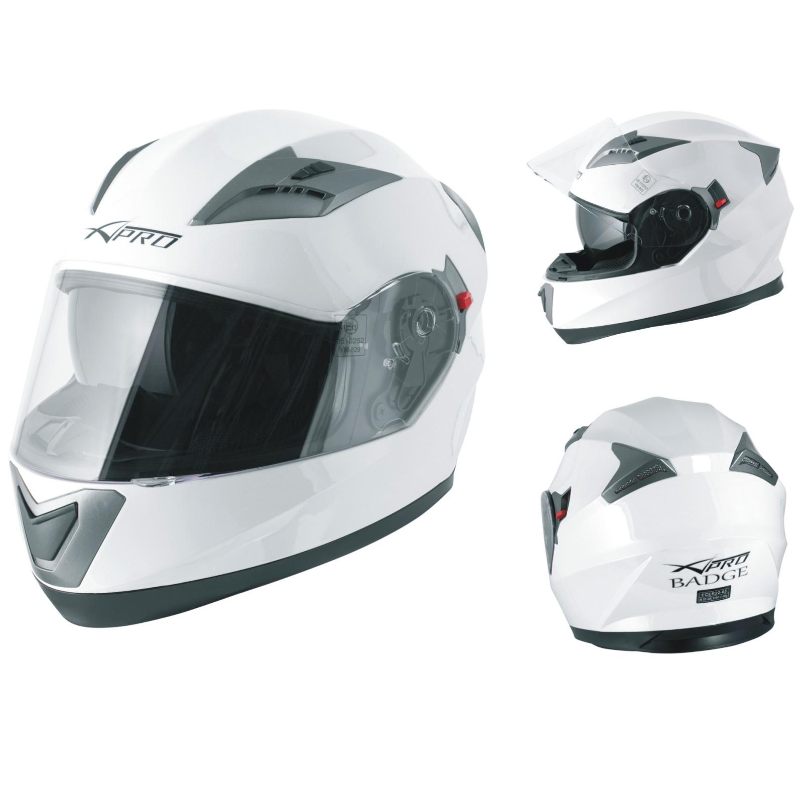 Casco Integrale Moto Scooter Visierino Parasole Touring Bianco