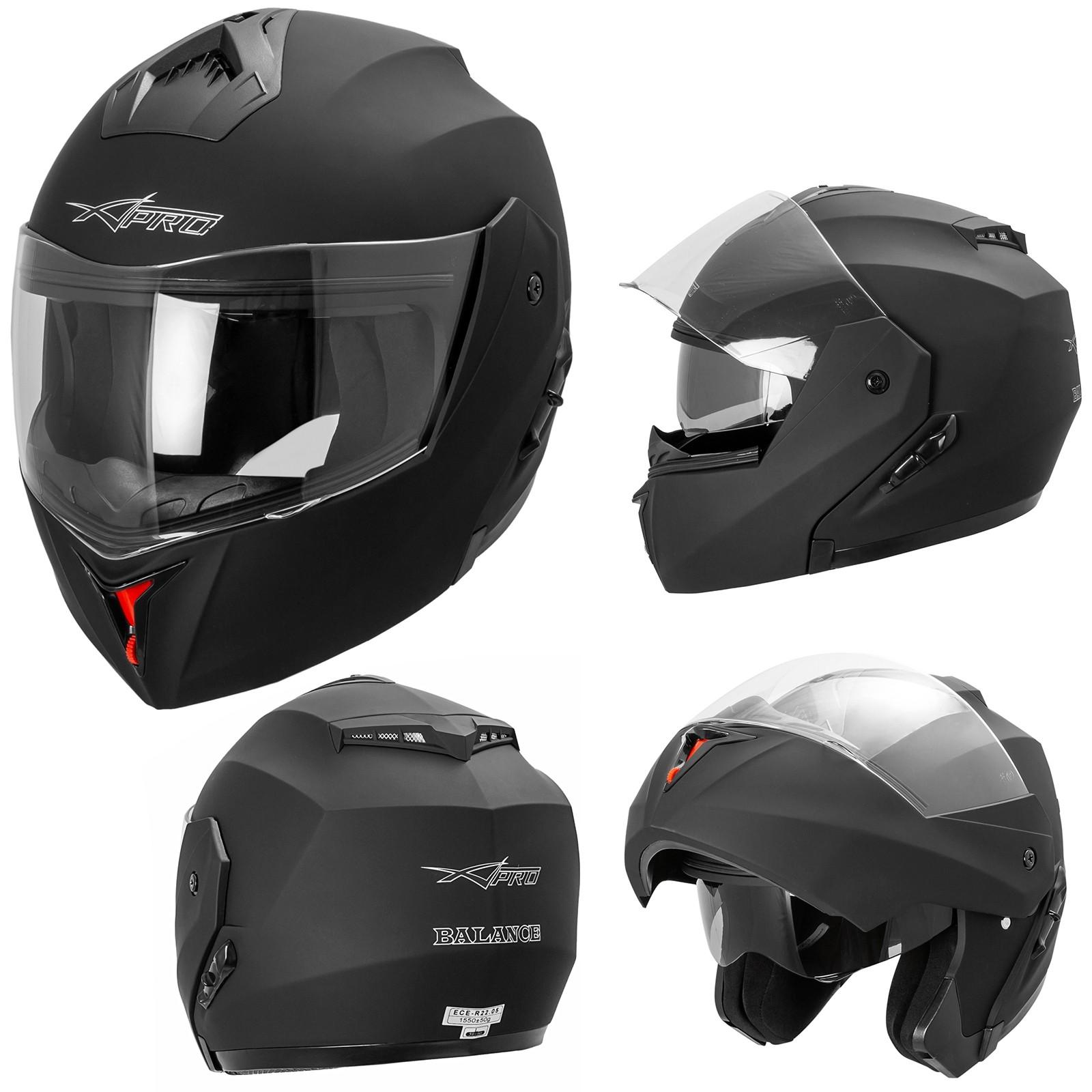 Balance-Casco-Helmet-Motorcycle-Nero-Opaco-Matt-Black-A-Pro-Sonic-Moto-Set