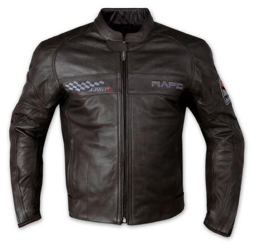 Giacca Pelle Foderata Moto Sport Custom Protezioni CE Rinforzo Schiena Nero