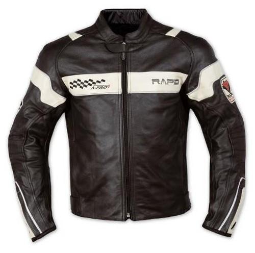 Giacca Pelle Foderata Moto Sport Custom Protezioni CE Rinforzo Schiena Bianco