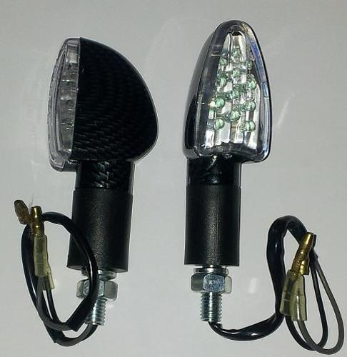 Coppia Indicatori Direzione Frecce Moto LED Custom Naked Universali Carbonio