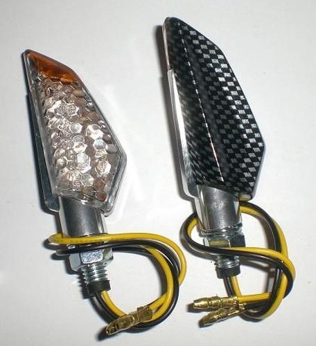 Coppia Frecce Moto Led Universali Indicatori Direzione Metallo  Carbonio