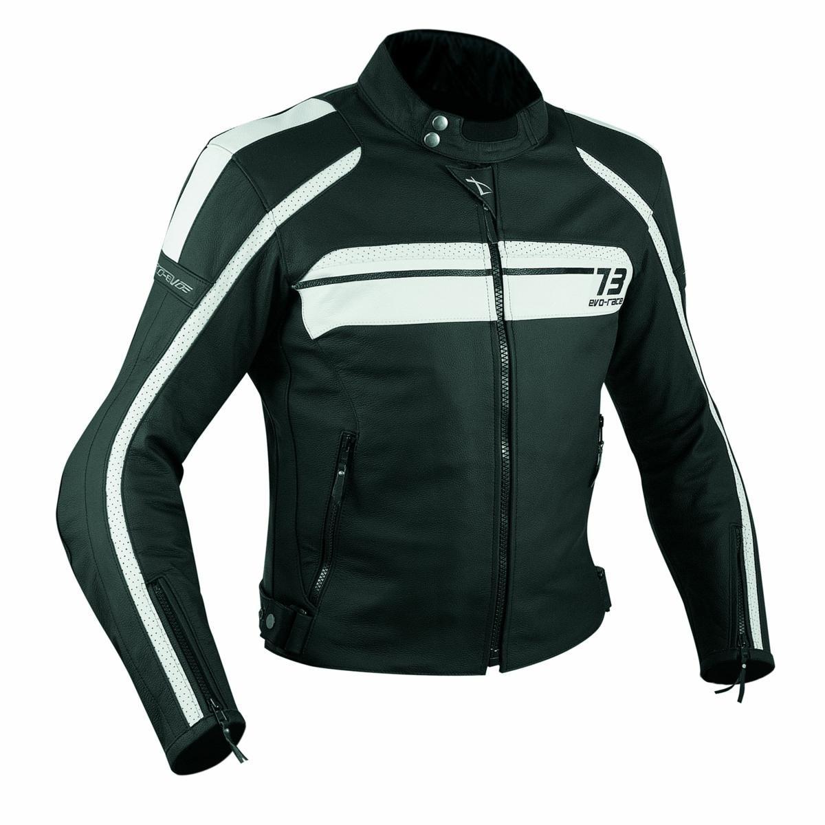 Sport Giacca Pelle Moto Custom Protezioni Omologate CE Rinforzo Schiena Bianco