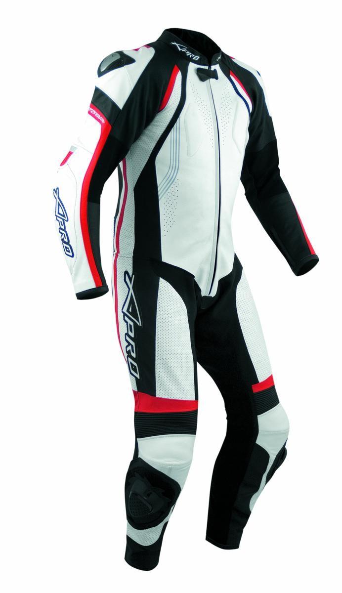 Tuta Pelle Pista Moto Protezioni CE Omologate Inserti Titanio Intera A-Pro Rosso
