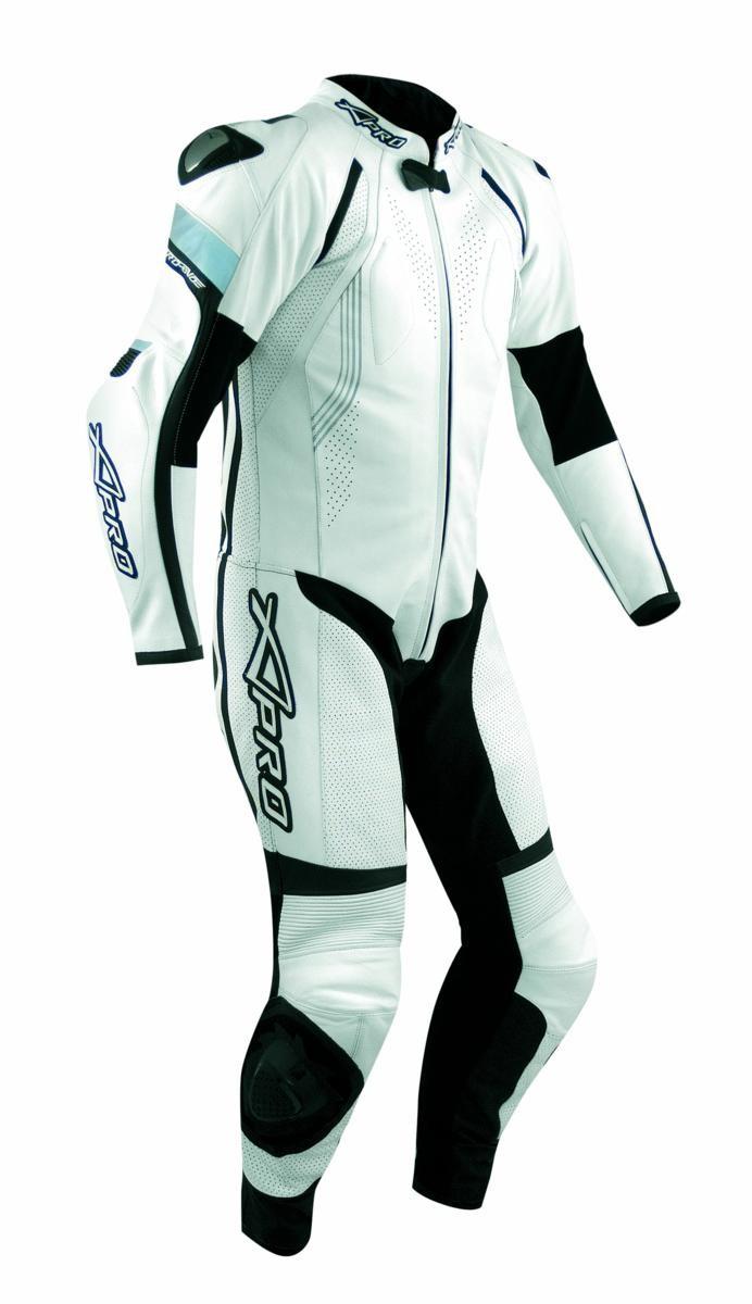 Tuta Pelle Pista Moto Protezioni CE Omologate Inserti Titanio Intera Bianco