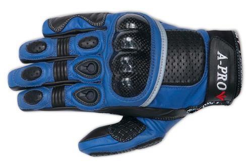Guanti Moto Pelle Protezioni Carbonio Imbottiture Sportivo Pista Estivo Blu
