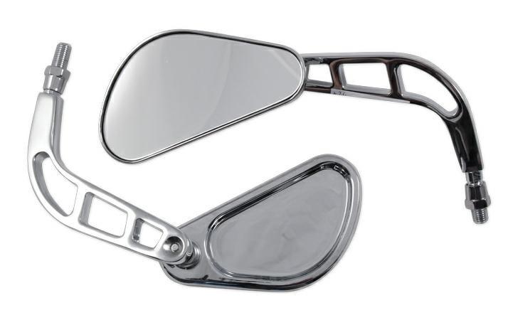 Specchio Retrovisore Coppia Specchietti Chopper Moto Custom Cromo DX+SX