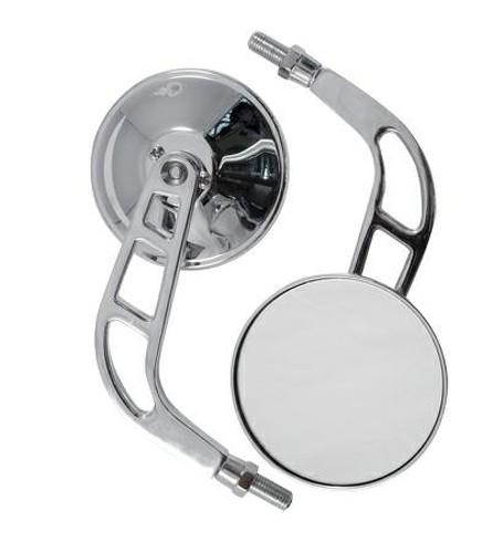 Specchio Retrovisore Coppia Specchietti Chopper Custom Moto Cromo DX+SX
