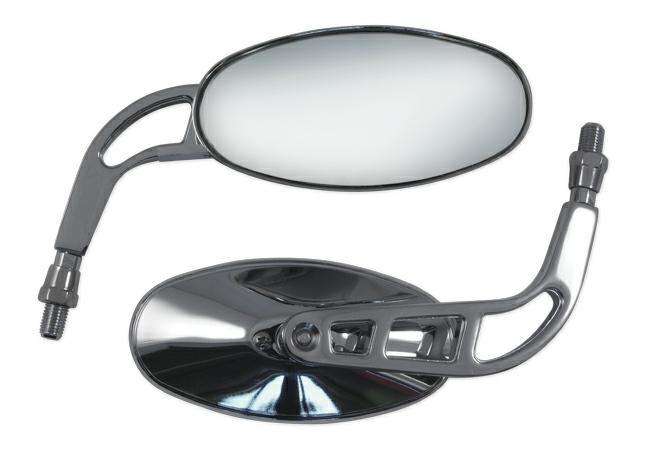 Specchio Moto Retrovisore Coppia Specchietti Chopper Custom Cromo DX+SX