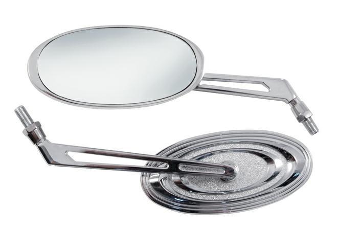 Specchio Retrovisore Moto Coppia Specchietti Chopper Custom Cromo DX+SX