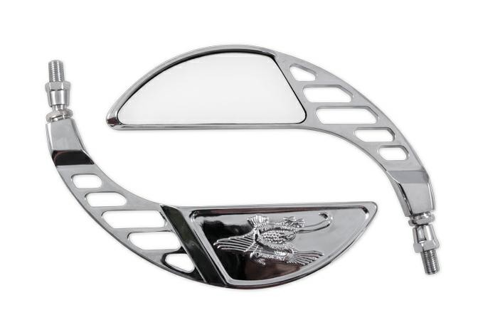 Specchio Retrovisore Moto Chopper Custom Coppia Specchietti Cromo DX+SX