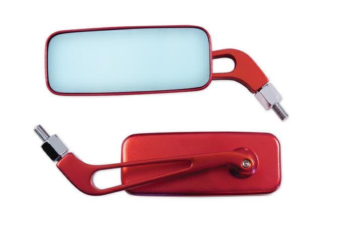 Coppia Specchietti Specchio Retrovisore Moto Naked Custom Metallo Rosso DX+SX