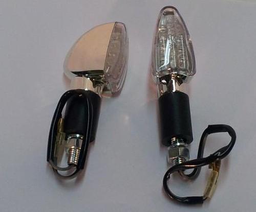 Coppia Indicatori Direzione Frecce Moto LED Custom Naked Universali Cromo