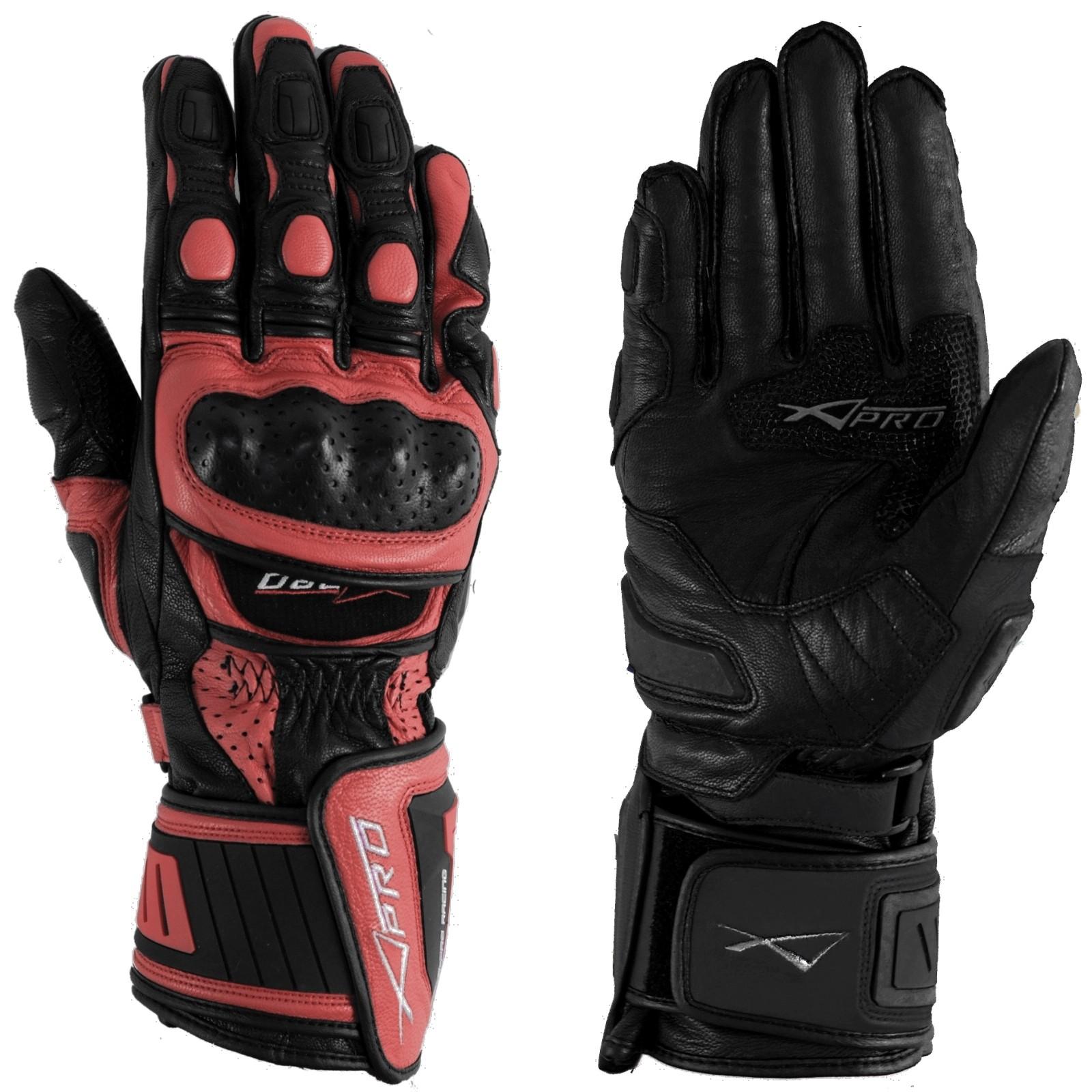 Guanto Pista Racing Sport Protezioni Tecnico Professionali Pelle Moto Rosso