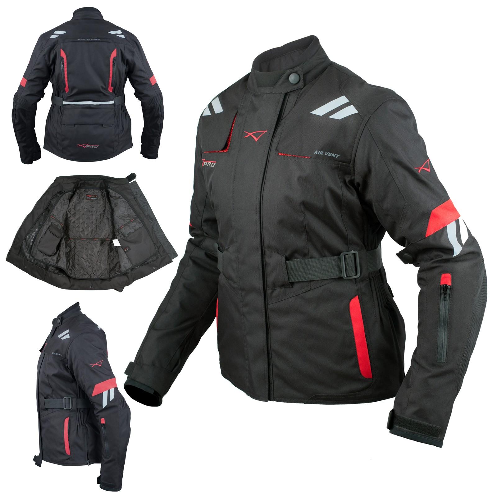Giacca Donna Moto Impermeabile Tessuto Protezioni CE Viaggio Rosso