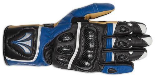 Guanto Sportivo Pista Moto Tecnico Protezioni Carbonio Professionale Pelle Blu