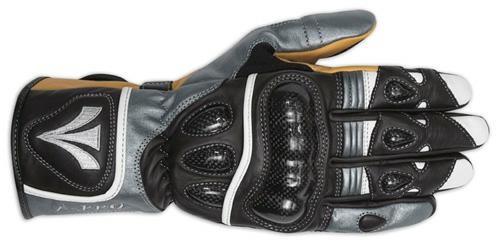 Guanto Sport Pista Moto Tecnico Protezioni Carbonio Professionale Pelle Argento