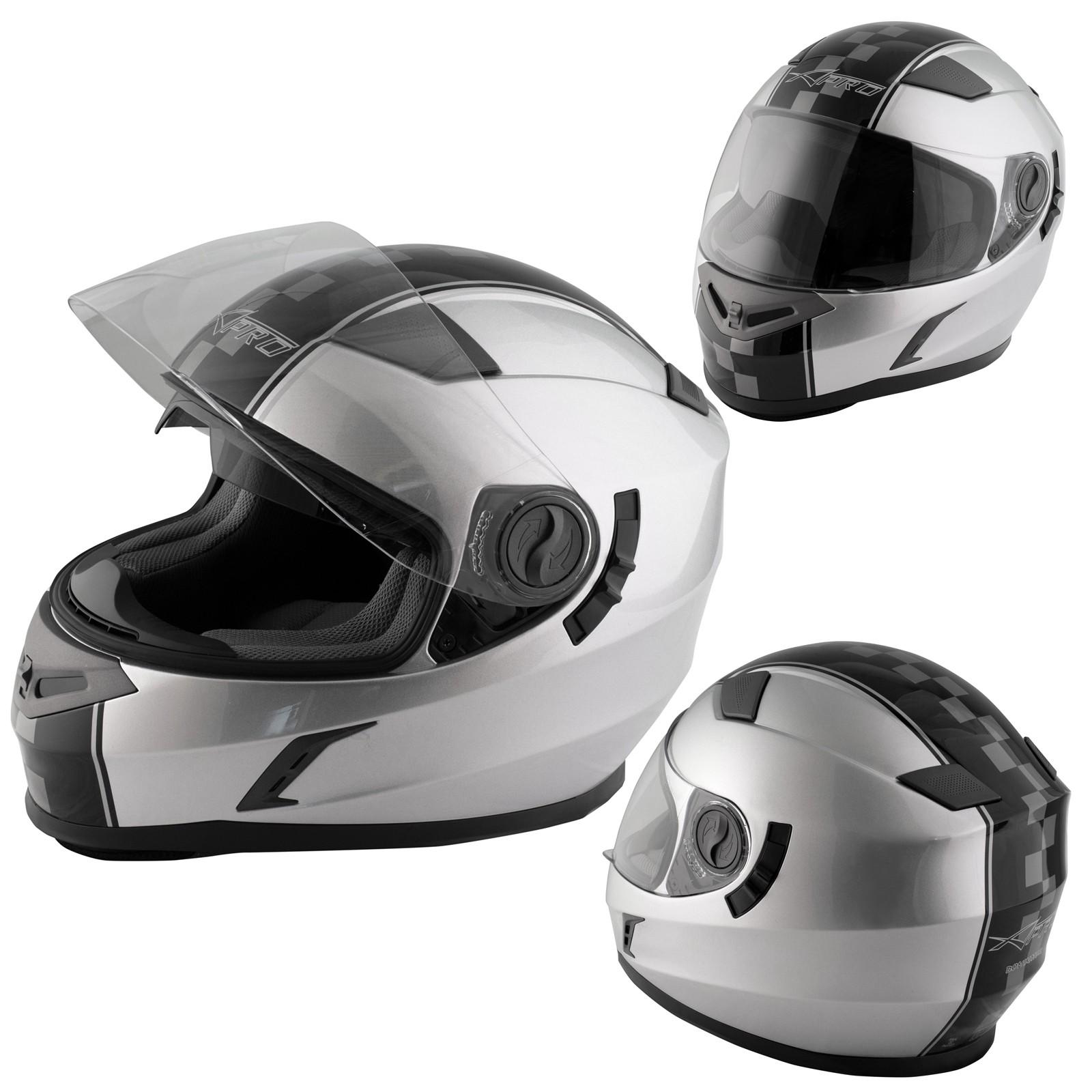Casco Integrale Moto Scooter Touring Visiera Interna Parasole Viaggio Argento
