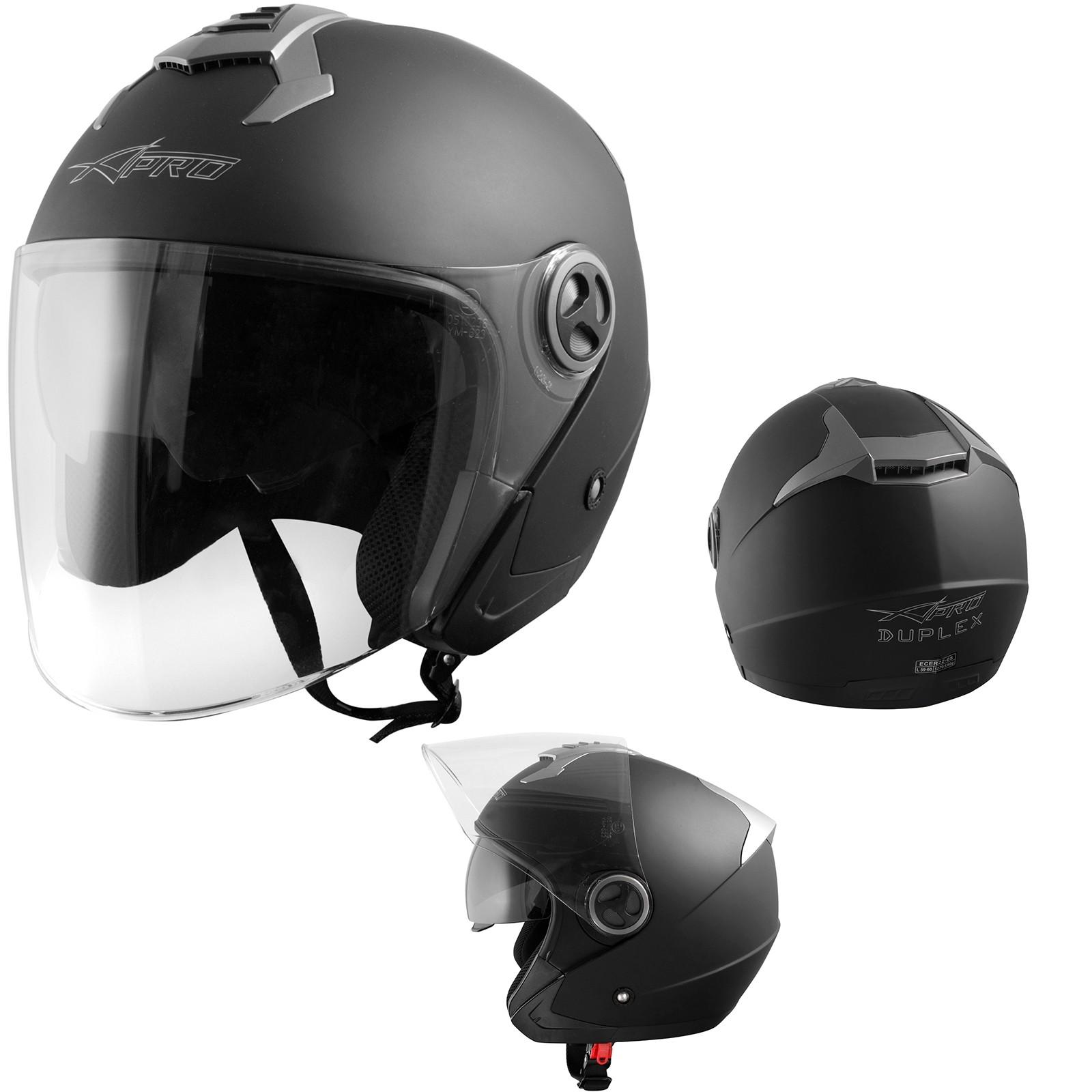 Duplex-Helmet-Casco-Motorcycle-Nero-Opaco-Matt-Black-Sonic-Moto-A-Pro-Set