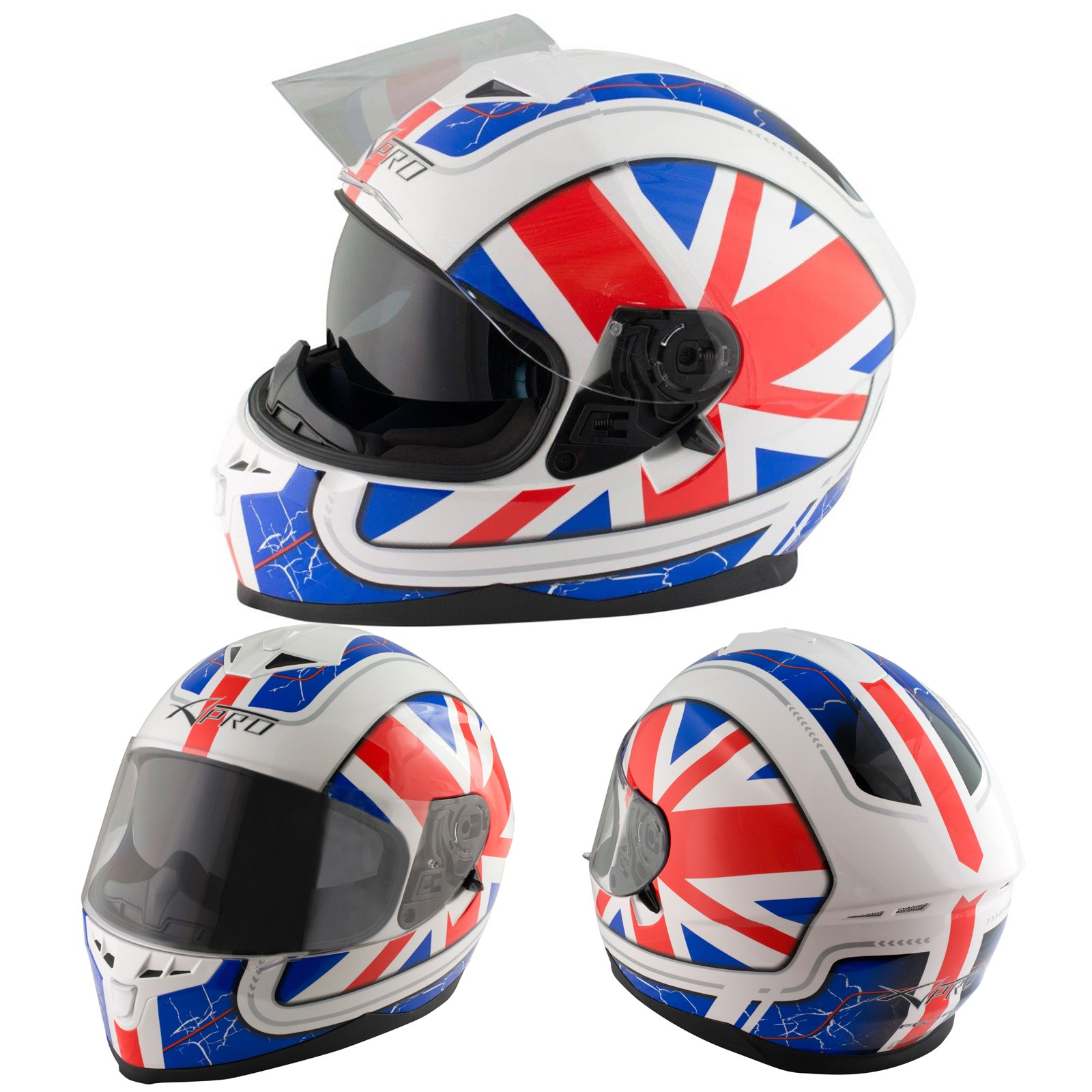 Fg A Pro Casco Helmet English Style Bianco White Rosso Red Blu Blue Sonic Moto Config