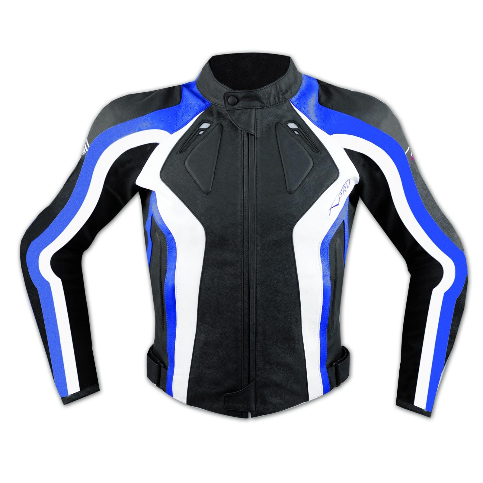 Giacca Racing Sport Pelle Moto Giubbino Protezioni Omologate Blu
