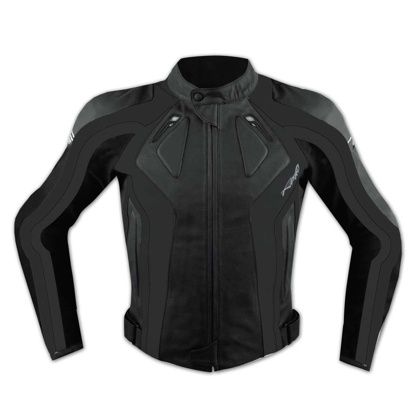 Giacca Racing Sport Pelle Moto Giubbino Protezioni Omologate Nero