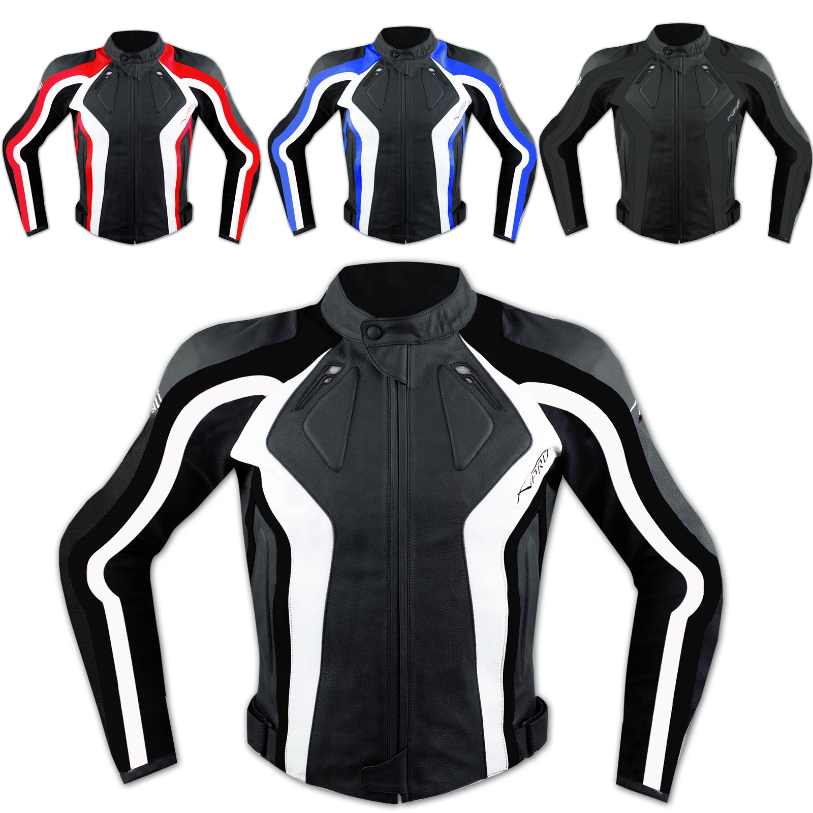 Giacca Racing Sport Pelle Moto Giubbino Protezioni Omologate