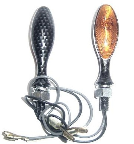Coppia Indicatori Direzione Frecce Moto Custom Naked Universali Metallo Carbonio