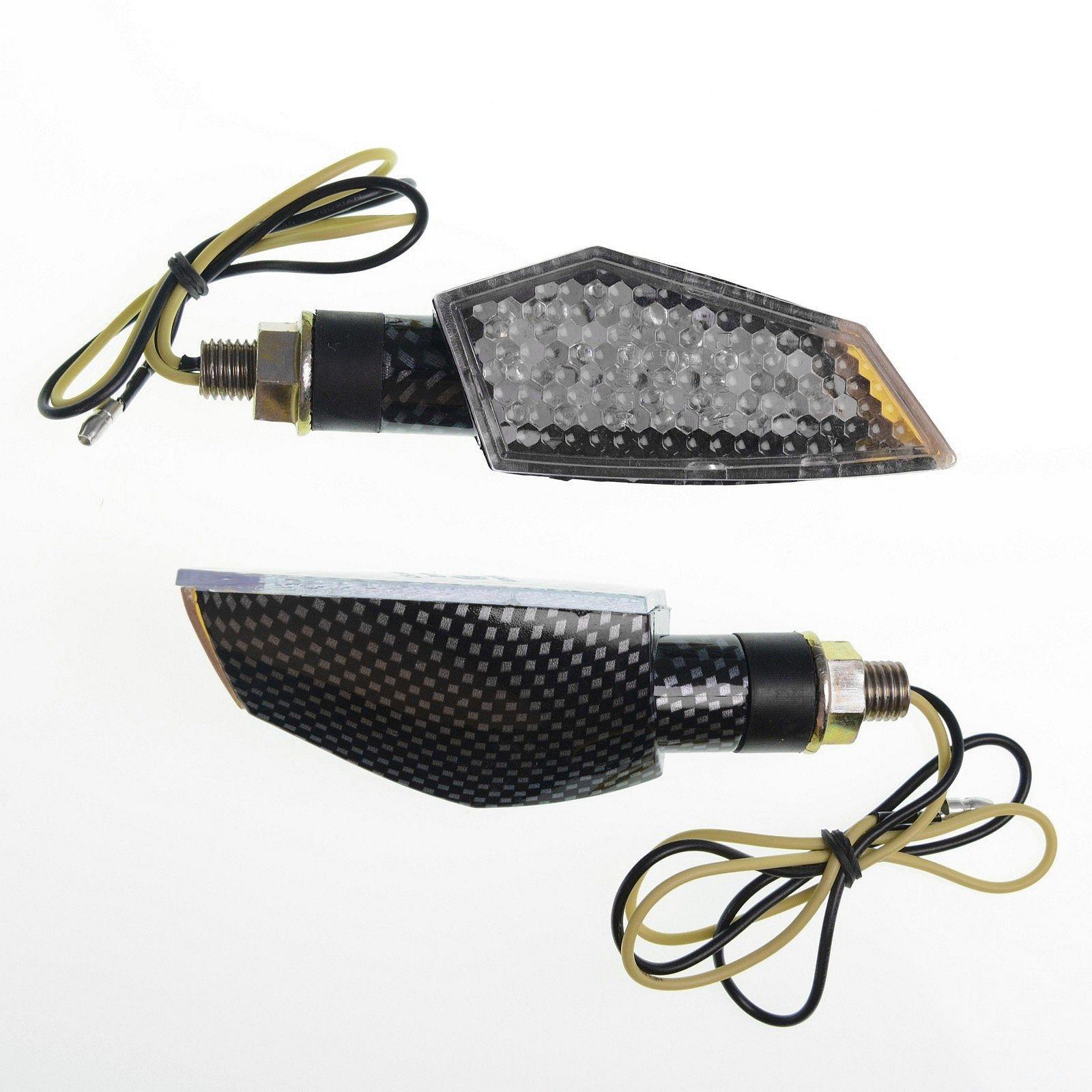 Coppia Frecce Moto Led Universali Indicatori Direzione Touring Naked  Carbonio