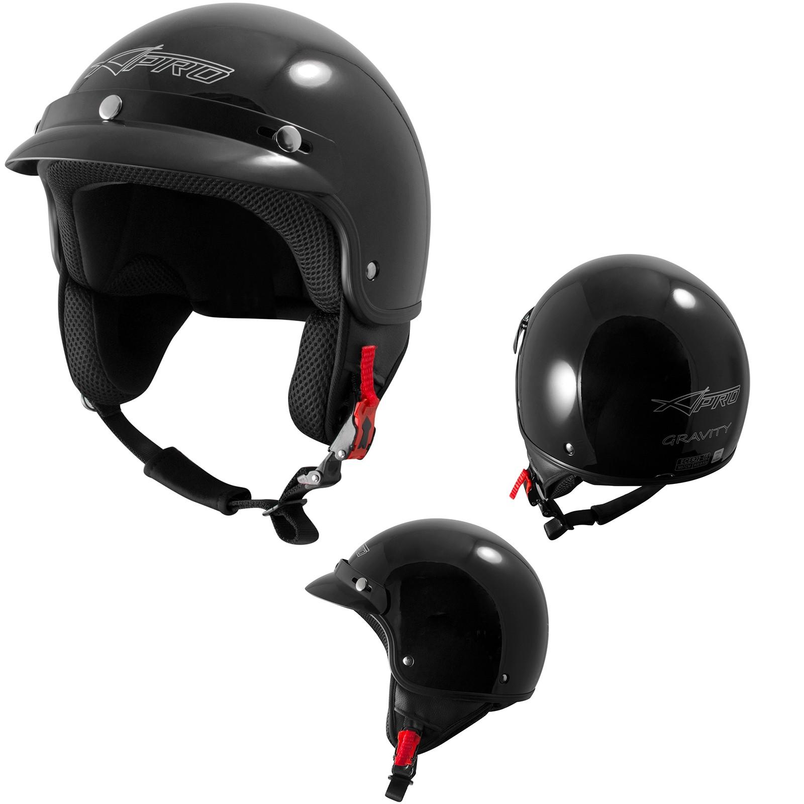 Gravity-Casco-Jet-Helmet-Motorcycle-Nero-Black-Sonic-Moto-A-Pro-Set