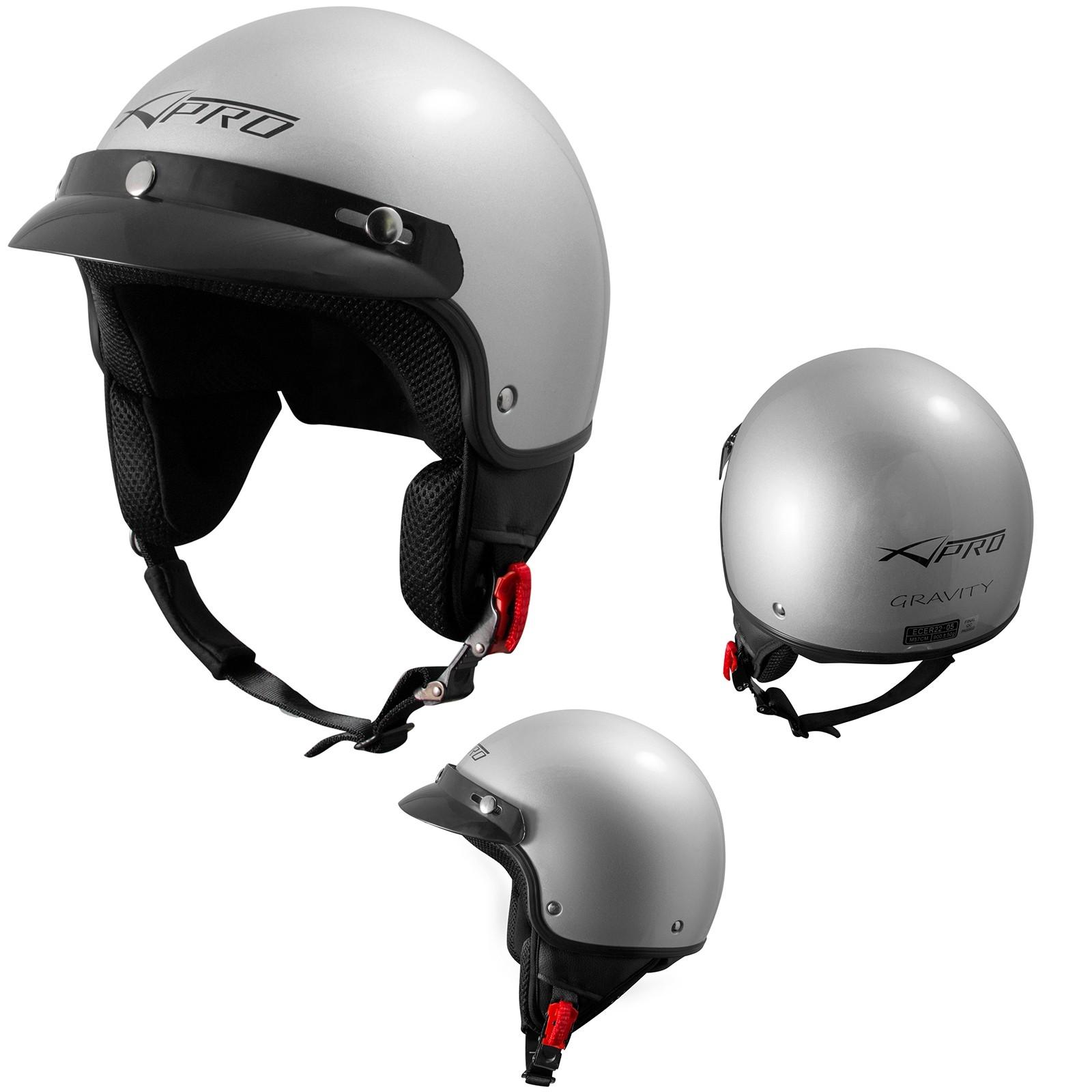 Gravity-Casco-Jet-Helmet-Motorcycle-Argento-Silver-A-Pro-Sonic-Moto-Set