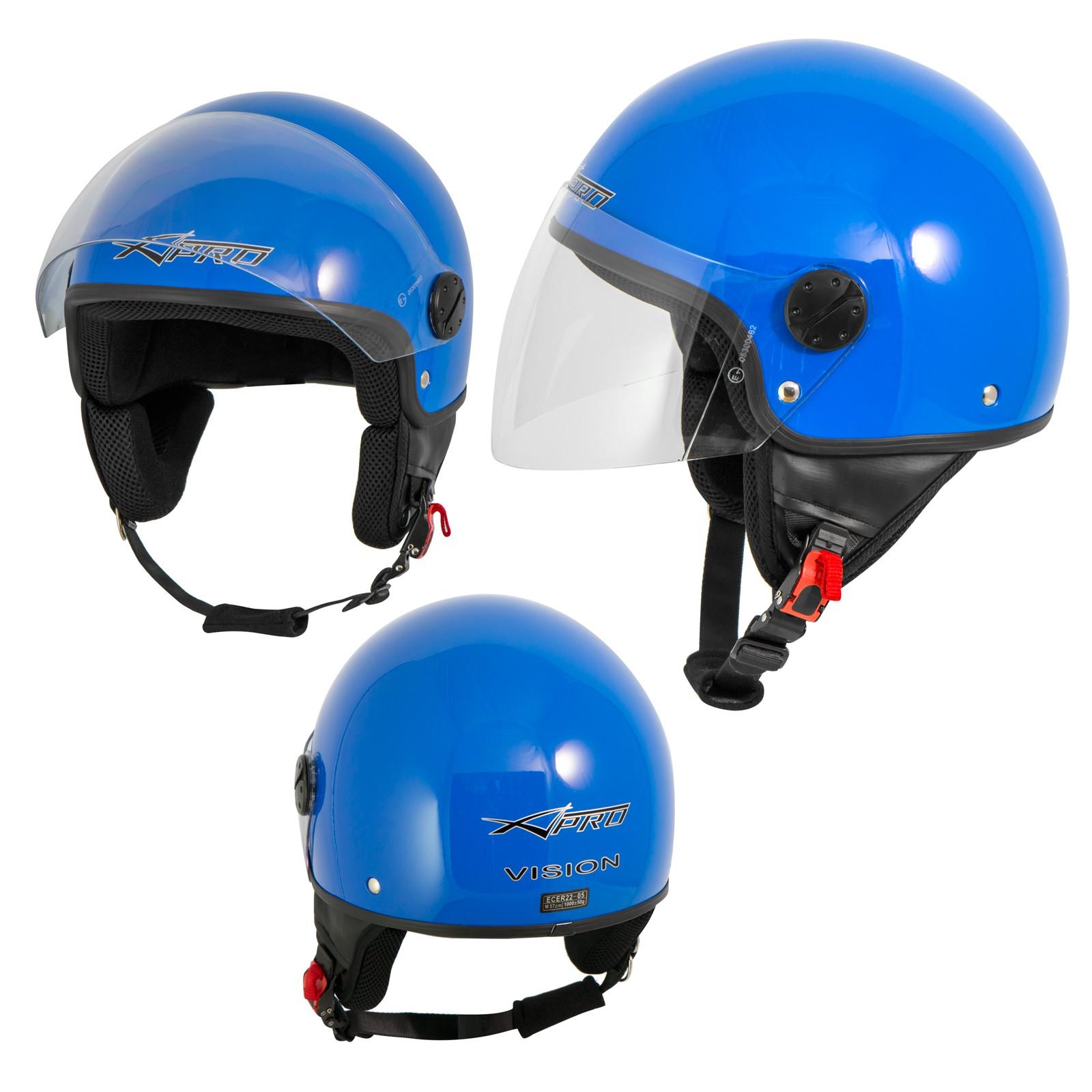 Casco Jet Demi Scooter Moto Omologato ECE 22  Visiera Antigraffio Blu