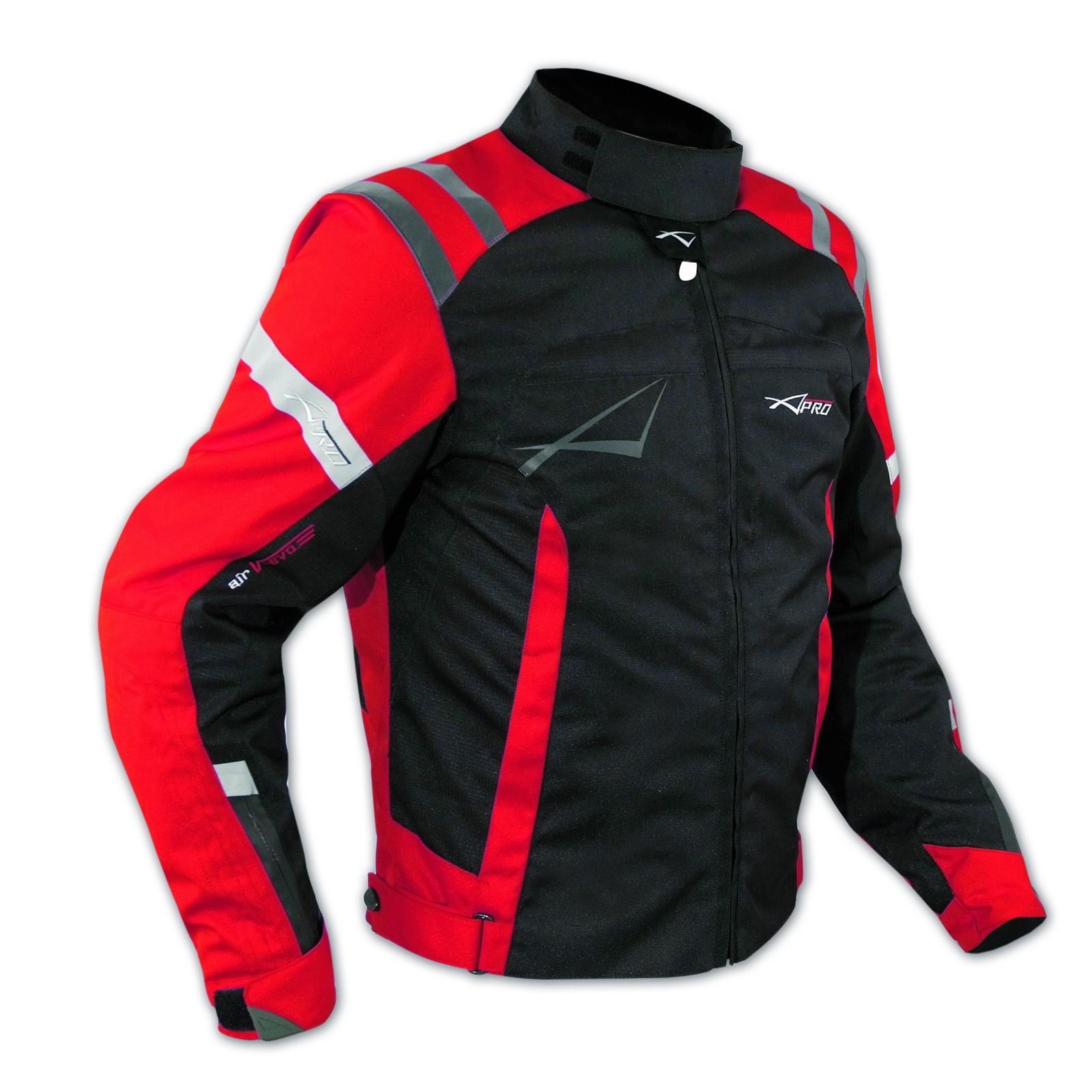 Giacca Sport Touring Tessuto Moto Cordura CE Protezioni Sfoderabile Rosso