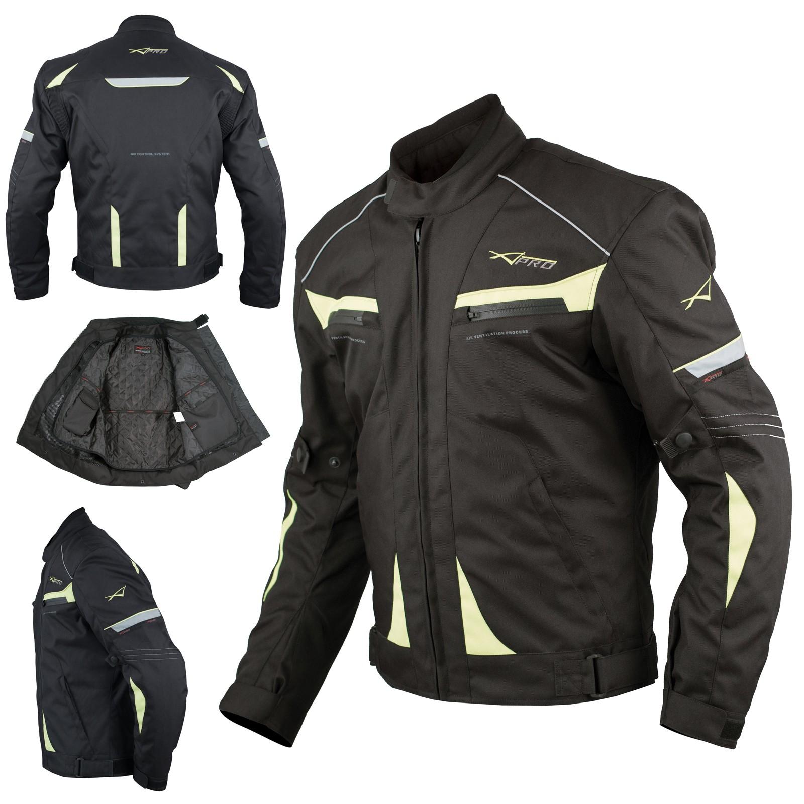 Giacca Moto Sport Tessuto Protezioni CE Impermeabile Ventilata Fluo