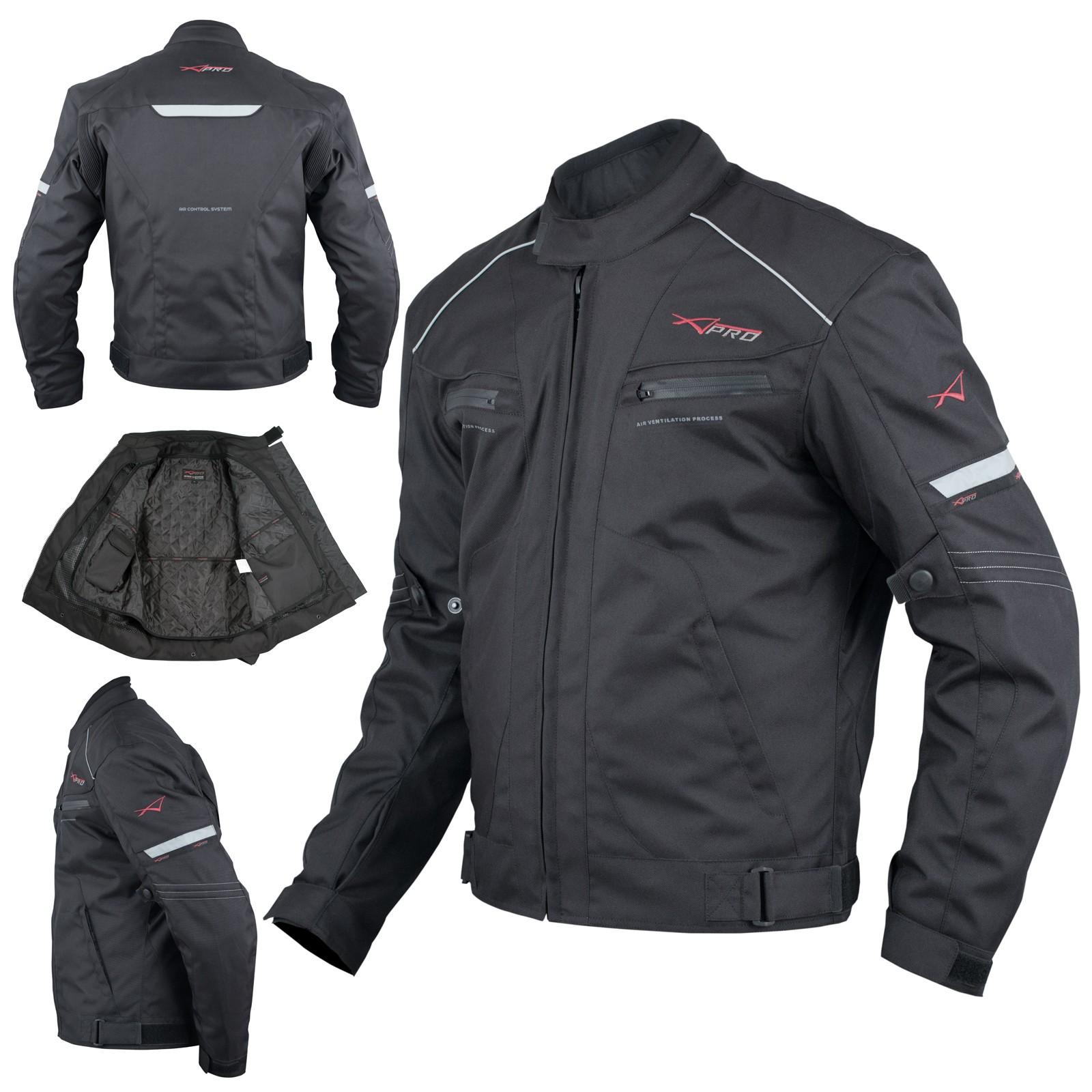 Giacca Moto Sport Tessuto Protezioni CE Impermeabile Ventilata Nero