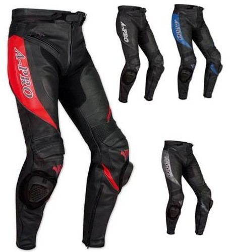 Pantaloni Racing Sport Pelle Moto Protezioni con Sliders Saponette