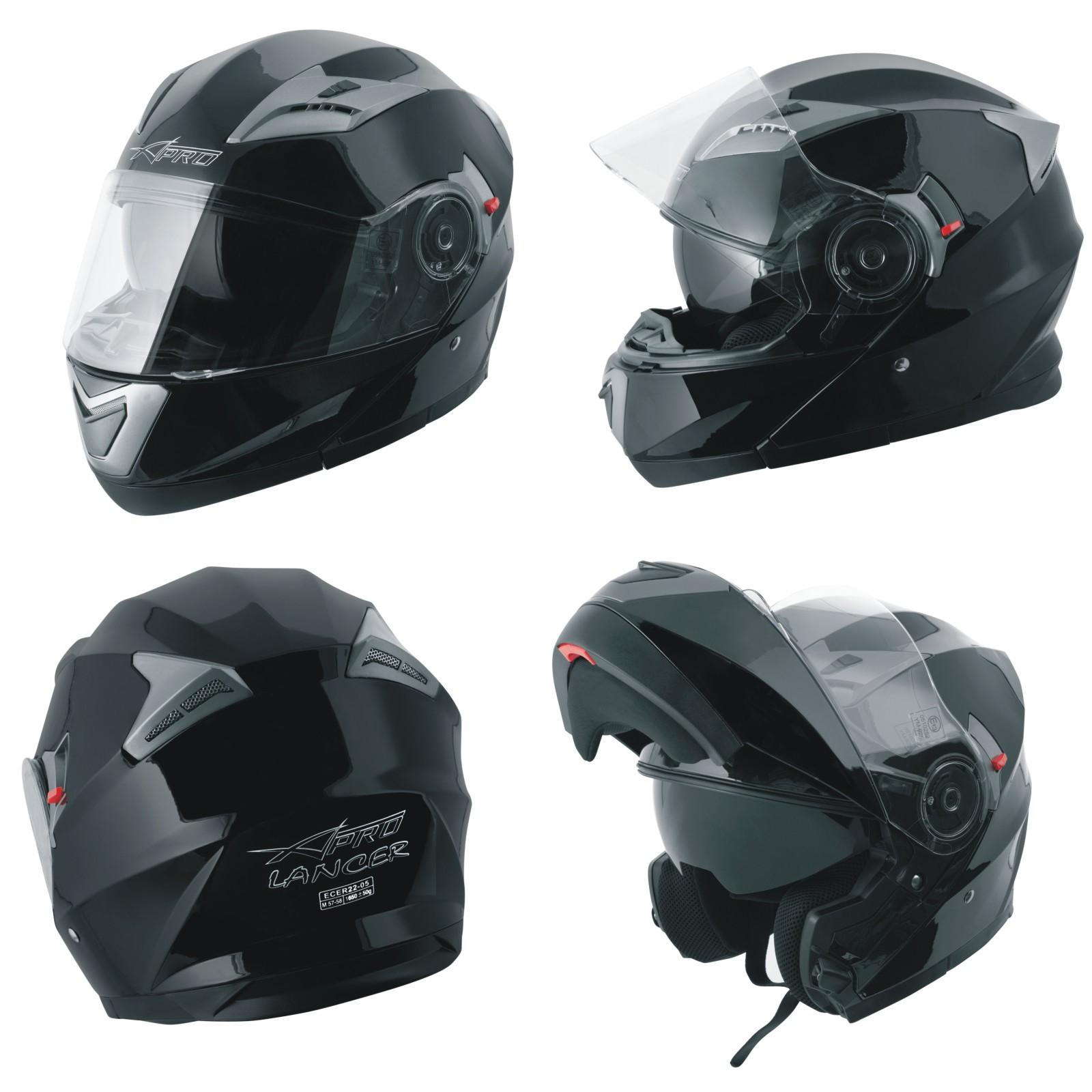 Casco Modulare Apribile Moto Touring Sport Visiera Parasole Nero