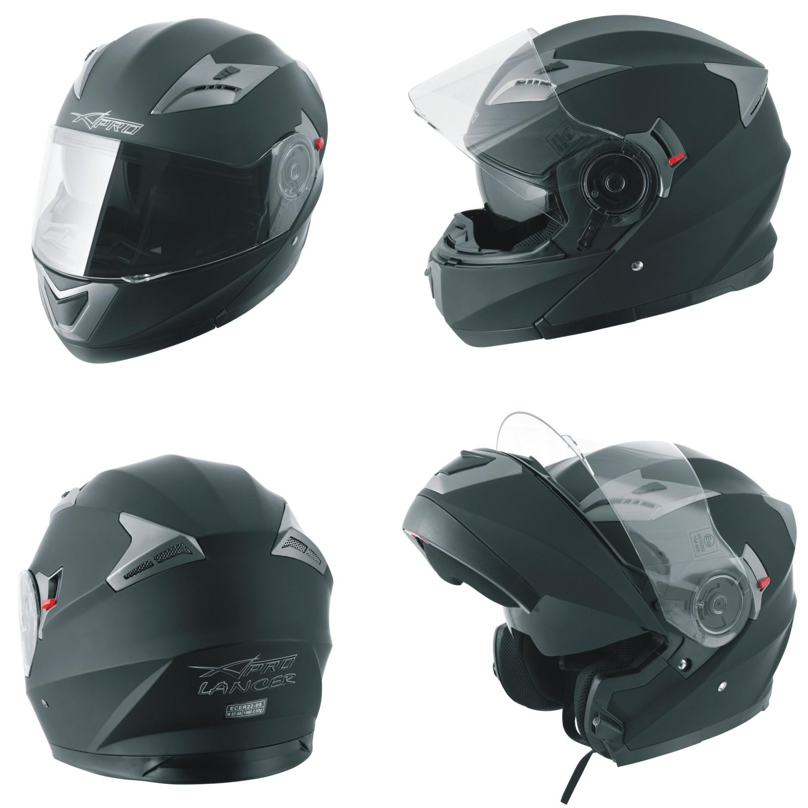 Casco Modulare Apribile Moto Touring Sport Visiera Parasole Nero opaco