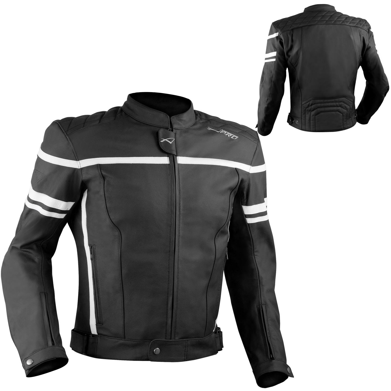 Giacca Giubbino Moto Pelle Sfoderabile Sport Custom Bianco Protezioni Omologate