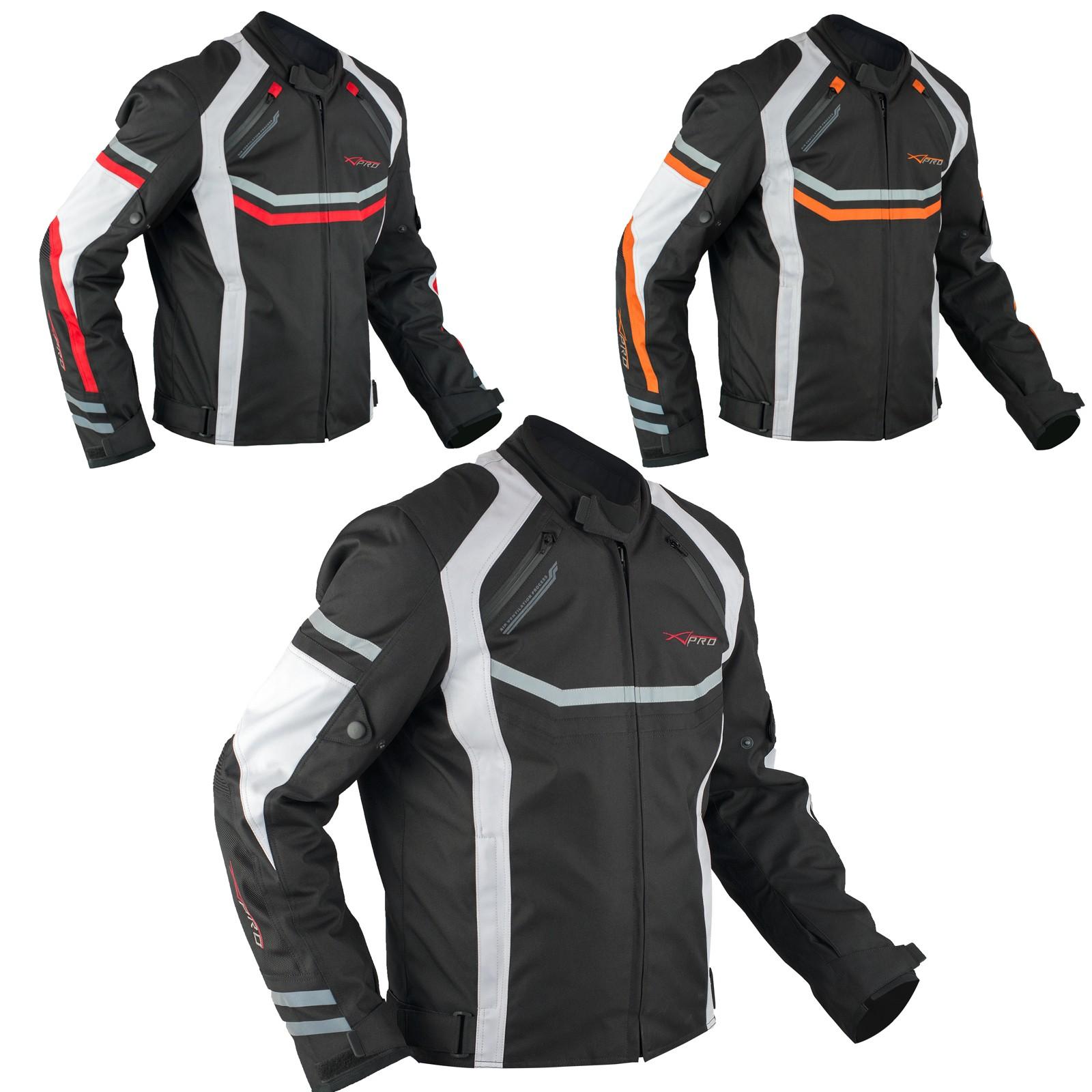 Giacca Moto Sportiva Tessuto Ventilata Riflettente Protezioni CE Traspirante