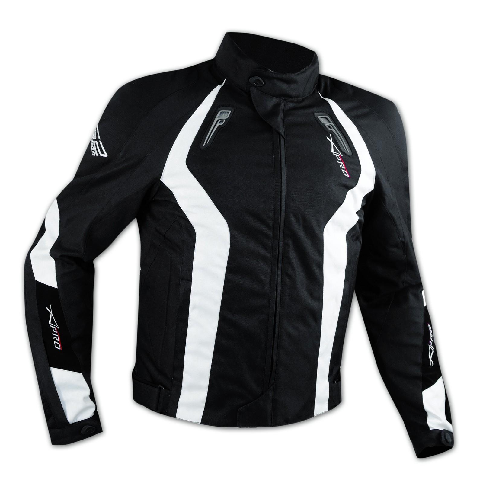 Giacca Cordura Tessuto Sportiva Traspirante Moto Termico Protezioni CE Bianco