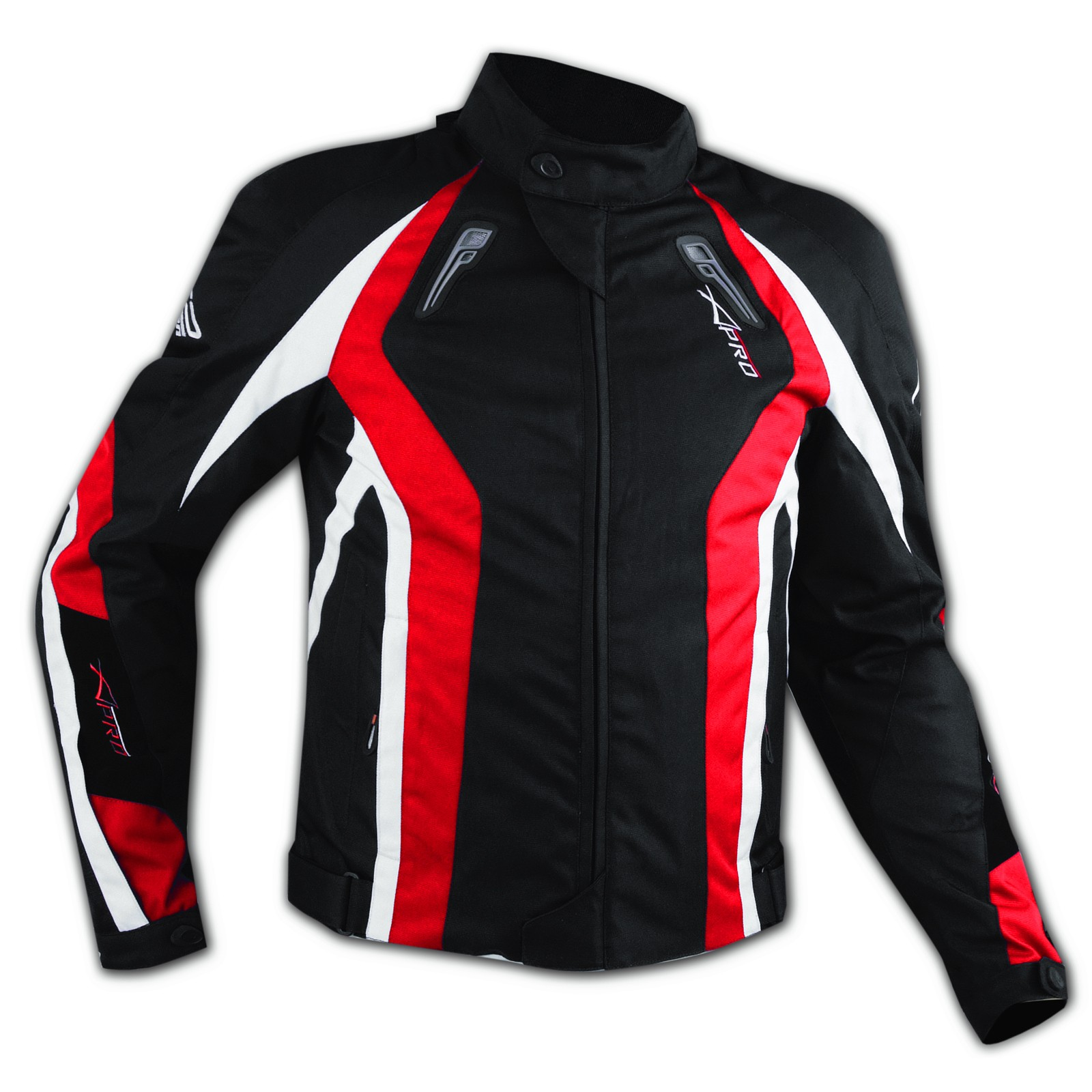 Giacca Cordura Tessuto Sportiva Traspirante Moto Termico Protezioni CE Rosso