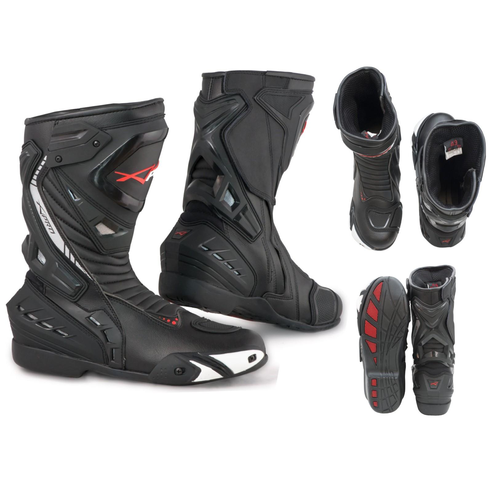 Stivali Moto Sport Racing Pista Strada Tecnico Microfibra Nero