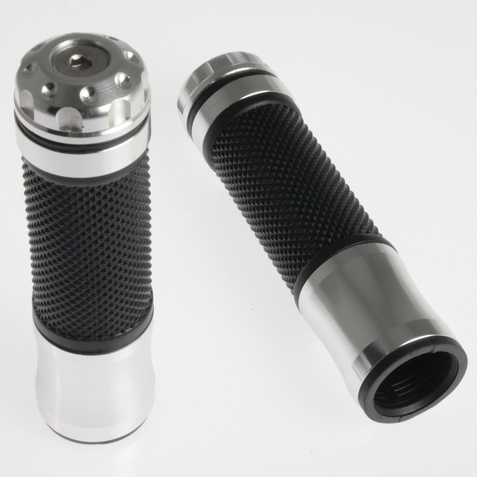 grande vendita design innovativo In liquidazione Coppia Manopole Metallo Cromato Gomma Moto Scooter Custom Universali  Manubrio